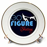 3dRose Alexis Design - Sport Winter - Go Figure Skating decorative text, dancing couple of skaters on blue - 8 inch Porcelain Plate (cp_280879_1)