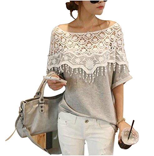 Eleganlife Women Lace Crochet Off Shoulder Batwing T shirt Top Grey Large