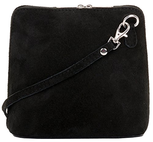 Primo Sacchi Italian Suede Leather Small/Micro Black Shoulder Bag Handbag