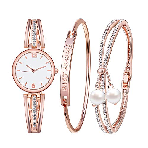 Souarts Gifts-for-Mom-Women-Watch-Set-Rhinestone Watch Free Engraving Bracelet Forever Love Faux Pearls Bracelet Jewelry Watch Set Round Quartz Wrist Watch Rose Gold Watch and Bracelet Set for Women (Forever Bracelet Watch)