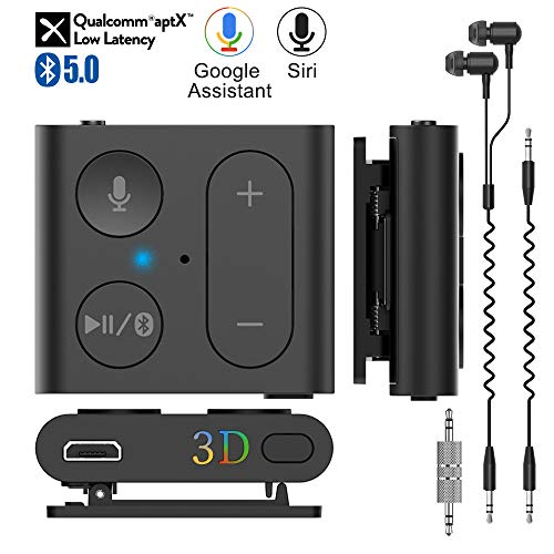 1Mii Bluetooth Receiver, Wireless Audio Adapter Back Clip Bluetooth 5.0 Receiver Car Kit with Mic Handsfree Calls 3D Surround Music aptX Low Latency AUX 3.5mm for Wired Headphones Home Car Stereo-B07 (Input Adapter Mic Bluetooth)