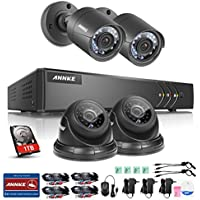 ANNKE CCTV Camera Systems 4CH 1080P Lite Video Security DVR and (4) 720P Weatherproof Bullet Security Cameras, 1TB Surveillance Hard Drive, Email Alert with Snapshots