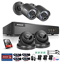 ANNKE 4CH FULL TRUE 1080P Lite Video Security DVR and (4) 720P HD Outdoor Weatherproof Surveillance Camera System with 1TB HDD Black(66ft night vision, Motion Alert, Smartphone& PC Easy Remote Access)