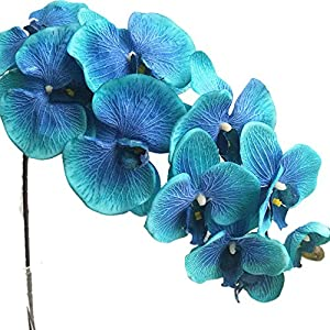 jiumengya 6pcs Blue Color Moth Orchids Phalaenopsis Orchid Big Orchid Flower 10 Heads for Wedding Centerpieces Decorative Artificial Flowers (Blue) 107