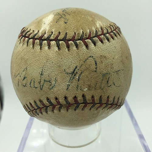 1934 Babe Ruth Single Autographed Autograph American League Harridge Baseball – JSA Certified Loa