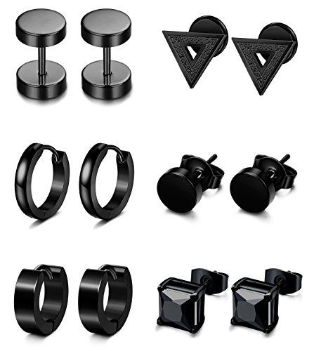 Besteel 6 Pairs Stud Earrings Hoop Earrings for Men Women Stainless Steel Huggie Earrings Set,Black