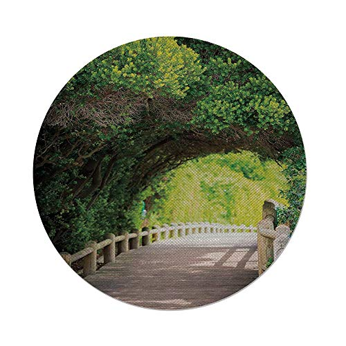 iPrint Cotton Linen Round Tablecloth,Forest,Nature Boardwalk Through Green Archway Bridge Foliage Trees Sunny Summer Day,Beige Green Brown,Dining Room Kitchen Table Cloth Cover