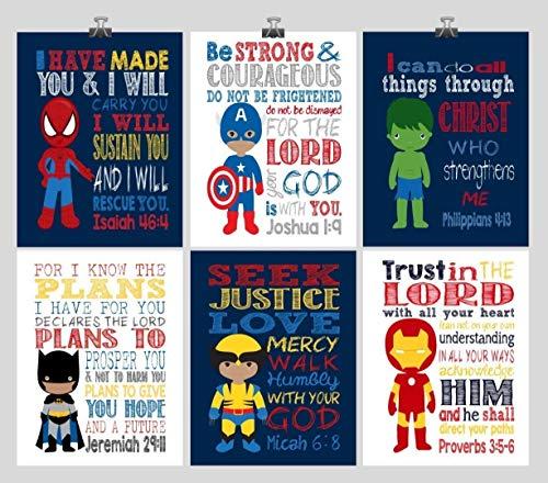 African American Superhero Inspirational Nursery Set of 6 Prints - Captain America, Ironman, Hulk, Batman, Wolverine, Spiderman -