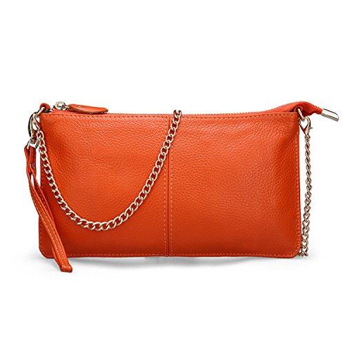 Versión Coreana Bolsa De Mano De La Cadena Diagonal Leather Handbags La Primera Capa De Cuero WatermelonRed