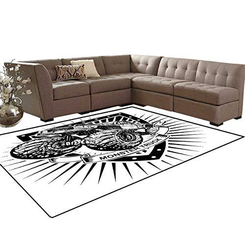 Modern Kids Carpet Play-mat Rug Munster Truck Logo on Shield Flag Pattern Artisan Speed Sports Hobby Illustration Room Home Bedroom Carpet Floor Mat 6'6