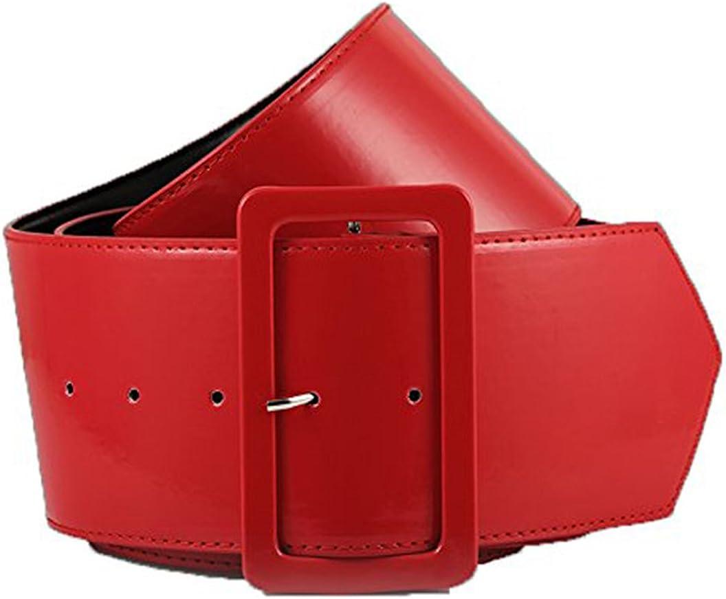 Retro PVC Wide Cinch Belt -...