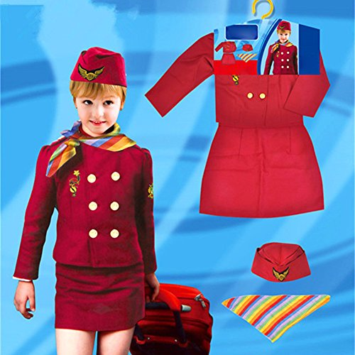 yanQxIzbiu Kids Girls Airline Stewardess Uniform Kidswear Halloween Party Cosplay Costume - Red One Size