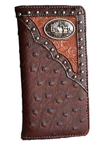 Check Leather Wallet (western men ostrich print pu leather praying cross concho long tall slim wallet (brown))