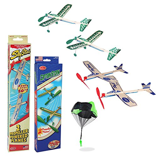 Balsa Wood Airplane Glider and Parachute Man Rubber Band Powered Sky Streak and Captain Storm Twin Packs 5 Piece Set by Softwater Products