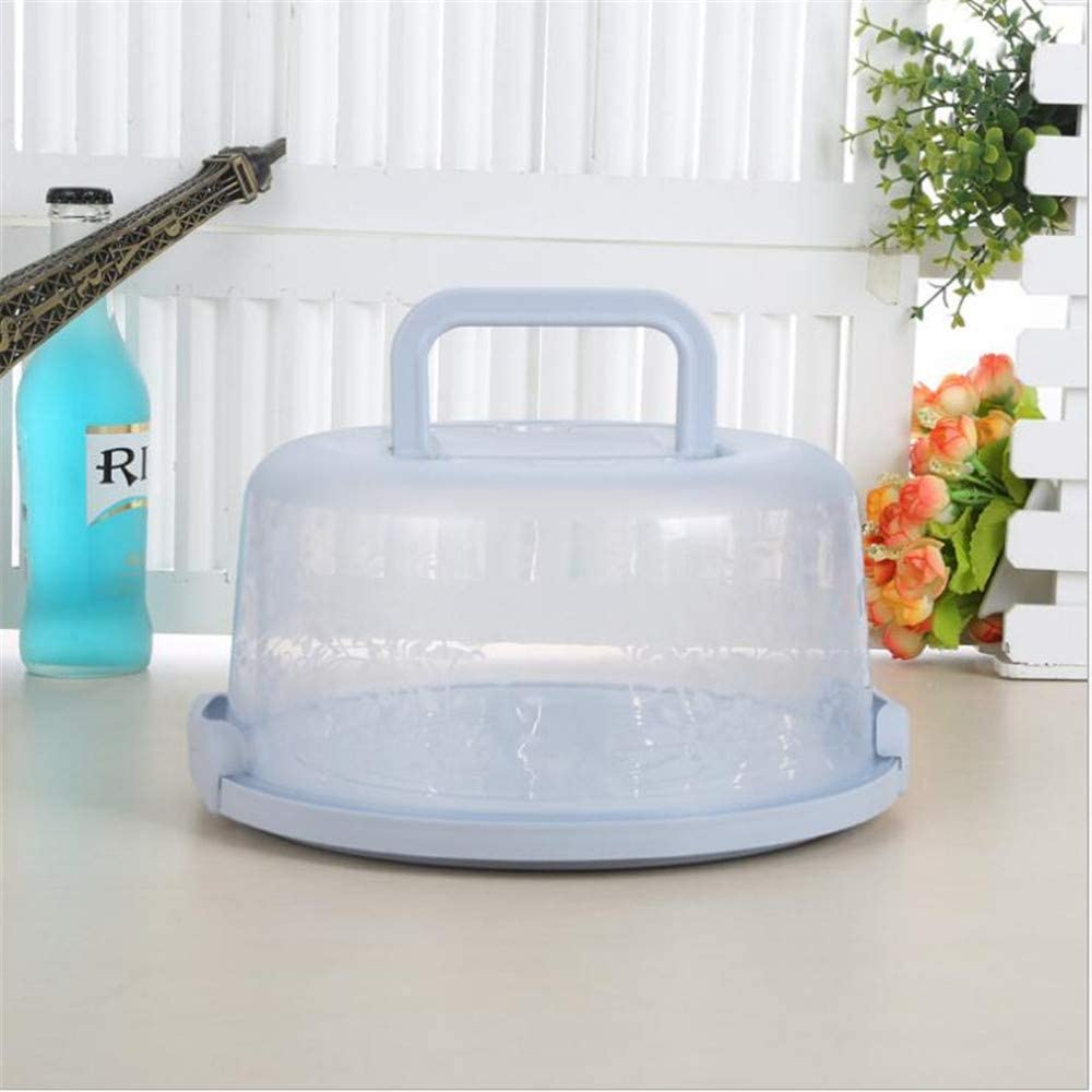 LLY Round Cake Box 10 Inch Blue Plastic Clear Wedding Birthday Cake Carrier Holder Storage Container with Handle