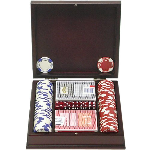 Trademark Poker 100 Holdem Poker Chip Set with Beautiful Mahogany Case, 11.5gm