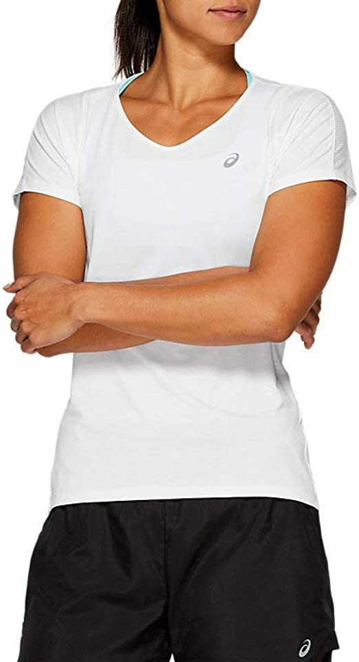 ASICS Women's V-Neck Short Sleeve Top Running Clothes
