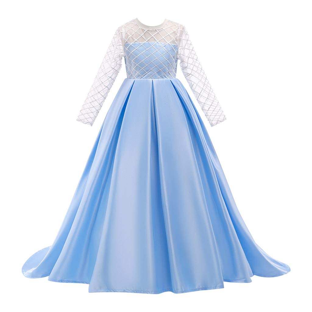 Kids Girls Solid Color Vintage Gown Teens Lace Long Sleeve Floor Bridesmaid Party Dance Dresses for Wedding (Age:8-9 Years, Sky Blue) by FDSD Baby Clothes