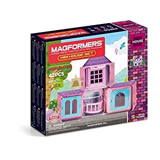 Magformers Mini House 42 Pieces Pink and Purple Colors, Educational Magnetic Geometric Shapes Tiles Building STEM Toy Set Ages 3+