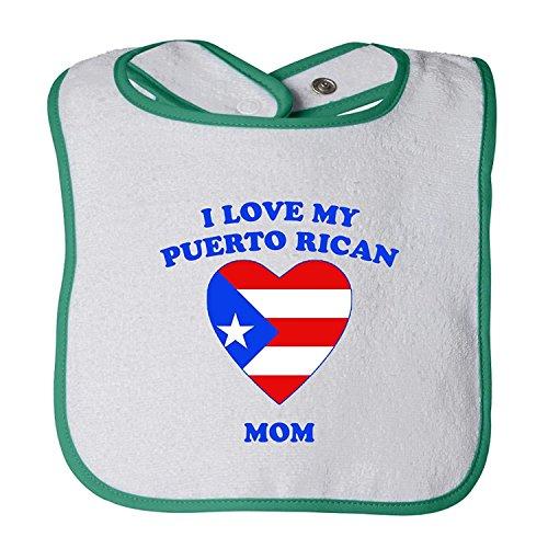 I Love My Puerto Rican Mom Tot Contrast Trim Terry Bib Cecil Beard