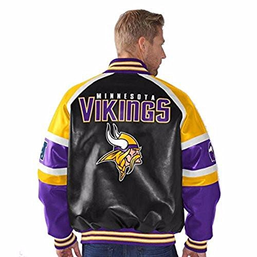 Minnesota Vikings Leather (G-III Sports Minnesota Vikings Faux Leather Button up Jacket Men's)