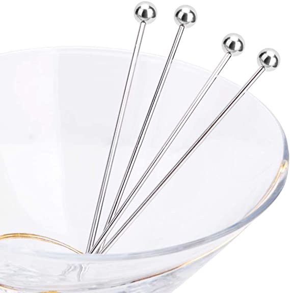 Set of 12 Stainless Steel Cocktail Picks/&Mixing Spoons SourceTon 10 Pieces 4 Inches Cocktail Picks and 2 Pieces 12 Inches Spiral Pattern Bar Cocktail Shaker Spoon