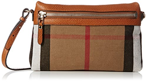 Burberry Small Canvas Check and Leather Clutch Bag - Saddle Brown
