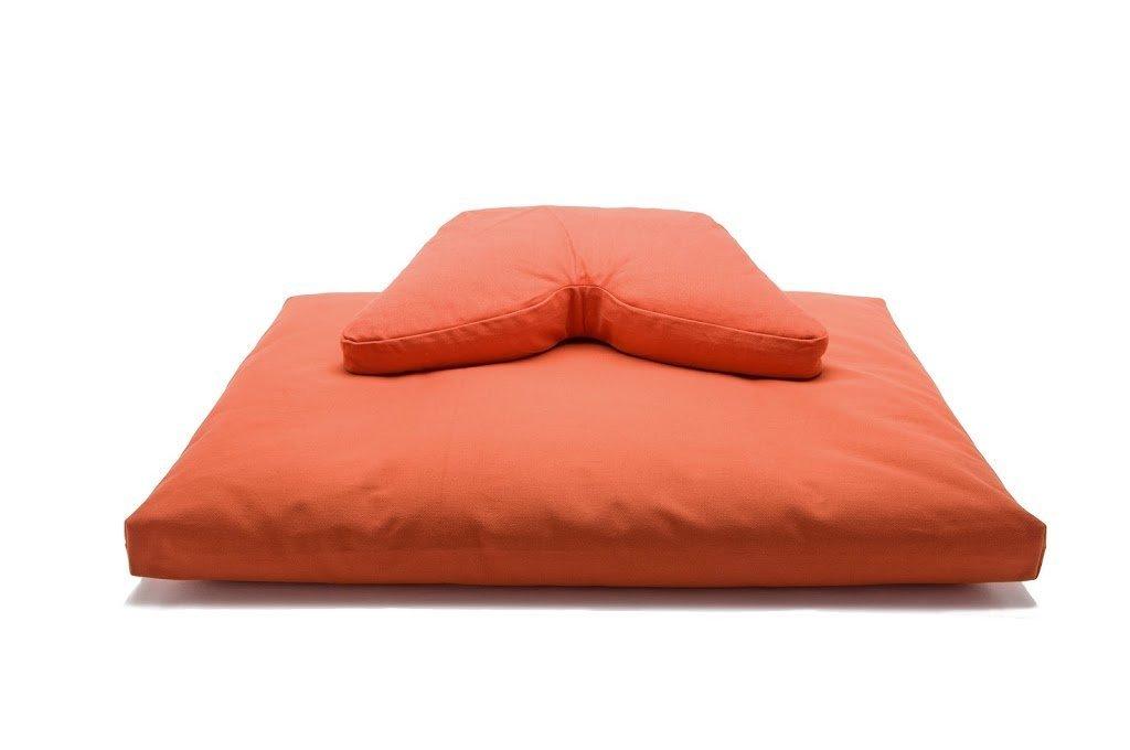 Sun and Moon Originals Cosmic Cushion & Deluxe Zabuton Meditation Cushion Yoga Pillow 2 Piece Set (cinnamon, buckwheat hull filling)