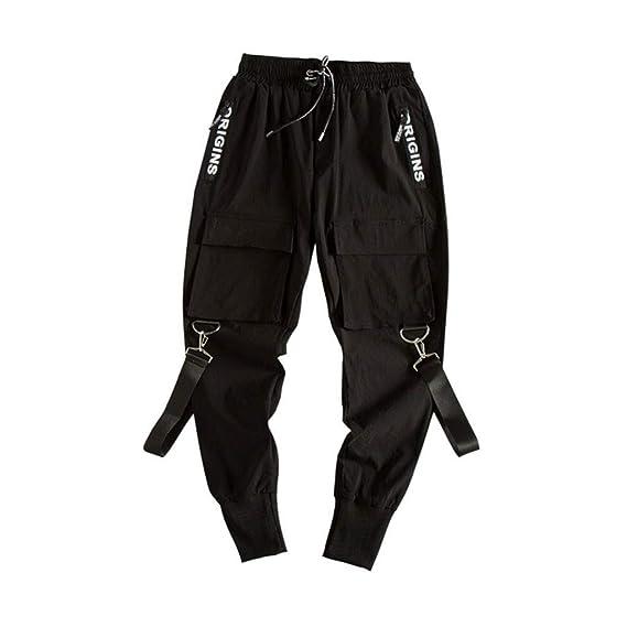 Hip Hop Style Lose Bekleidung Jungen,D/ünn Kn/öchel Hosen,Multi Taschen mit B/änder LIANA IRWIN Schwarz Cargo Hose Herren Hosen Jogging Pants