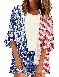 4a7d90263d148 Women's V Neck Mesh Panel Blouse 3/4 Bell Sleeve Loose Top Shirt