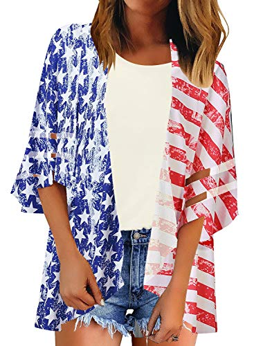 (LookbookStore Women's Open Front American Flag Kimono Mesh Panel 3/4 Bell Sleeve Summer Beach Swimwear Cover Up Multicolor Size Small)