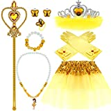 Princess Dress up Accessories 10 PCs Girl Crown Gloves Necklace Bracelet Earrings Ring Wand Tiara Belle Costume for Girls