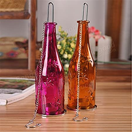 GOYAL® Glass Hanging Tea-Light Bottle Holder Lantern Size: 9 inch x 2.5 inch, Reusable Tea Light Holder/Comes with a Hanging Chain (Set of 2) - Pink and Orange