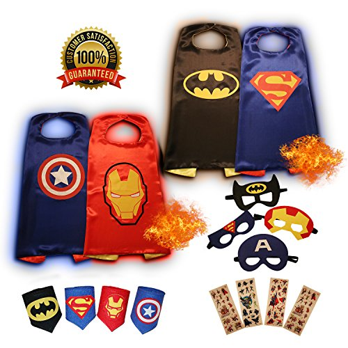 KidsLuvFun Superhero Capes For Kids, 4 Pack - Cartoon Dress Up incl. Capes, Masks, Felt Cuffs and 4 Sticker Packs (Party City Superman Costume)