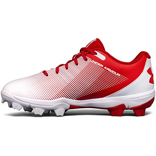 Under Armour Boys' Leadoff Low Jr. RM Baseball Shoe Red (611)/White 1 by Under Armour (Image #1)