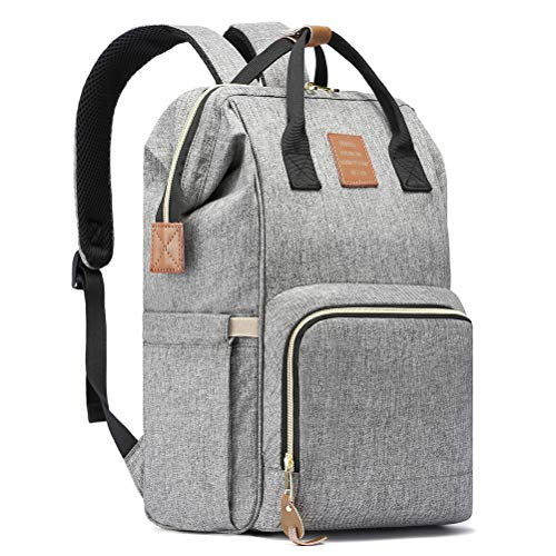 HaloVa Diaper Bag, Multi-Functional Portable Travel Backpack Nappy Bags for Baby Care, Water-Resistant, Large Capacity, Stylish and Durable, Leather Tag, Heather Grey