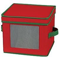 Essentials para el hogar 534RED Holiday China Servicio de almacenamiento de vajillas para platos de ensaladas o tazones   Tapa extraíble   Lona roja con ribete verde