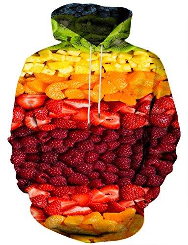 Yasswete Men's Hooded Sweatshirts Pullover Hoodie Colorful Fruit Print Outwear Large