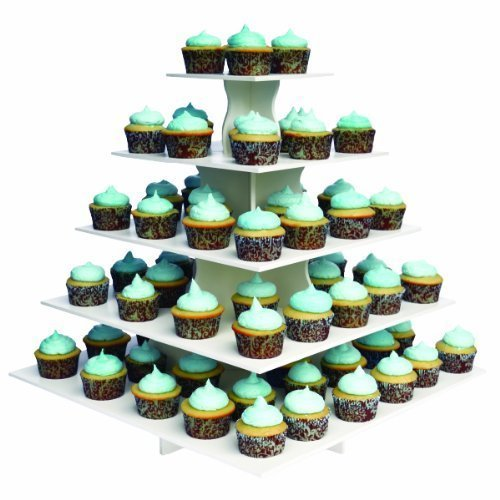 "The Smart Baker 5 Tier Square Cupcake Stand PRO- Holds 100+ Cupcakes""As Seen on Shark Tank"" Cupcake Tower for Professional Use"