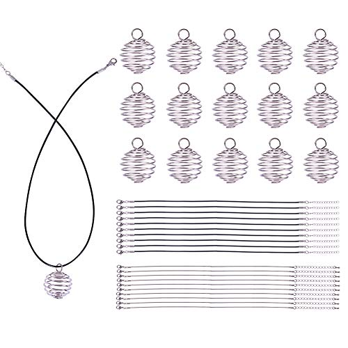 PandaHall Elite 20 Pcs Iron Spiral Bead Cages Pendants 29x25mm with 10 Strands Snake Chain 18.11 Inches and 10 Strands Wax Cotton Necklace Cord 18 Inches for Jewelry Making