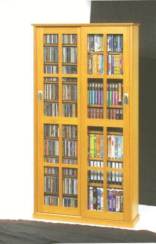 Leslie Dame MS-700 Mission Multimedia DVD/CD Storage Cabinet with Sliding Glass Doors, Oak - Glass Media Cabinets