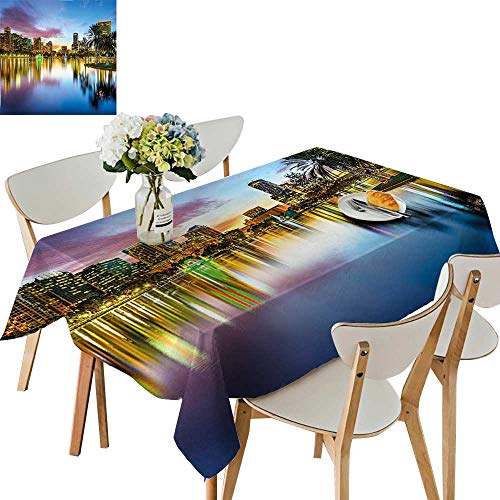 UHOO2018 Square/Rectangle Polyester Cloth Fabric Cover Famous USA Urban Downtown View of Orlando Florida EOLA Lake Romantic Scene Blue Table Top Cover,50x 50inch