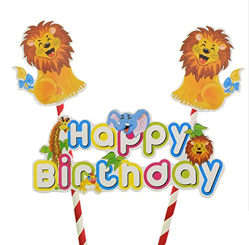 Lion Safari Happy Birthday Cake Topper Banner, Jungle Animals Zoo Themed Party Decorations for $<!--$8.86-->