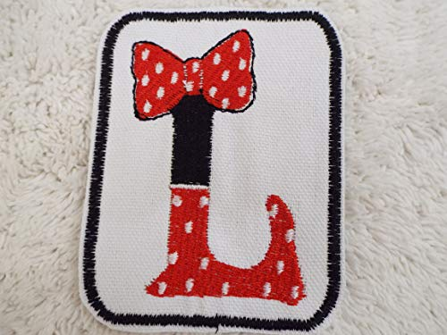 Polka Dot Wall Letters - Minnie Mouse Red White Polka Dot Bow MONOGRAM Letter L Embroidered Iron-on Patch