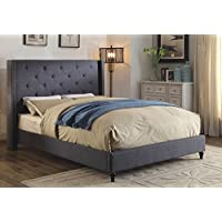 HOMES: Inside + Out IDF-7677BL-Q Hollis Bed Contemporary Queen, Blue