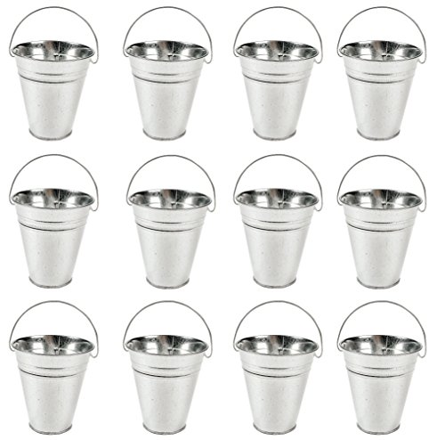 - Galvanized Metal Pails Bulk, Medium Size Pack of 12 Buckets, Goodie Baskets Party Favors, Parties Decoration, 5 X 4 1/2