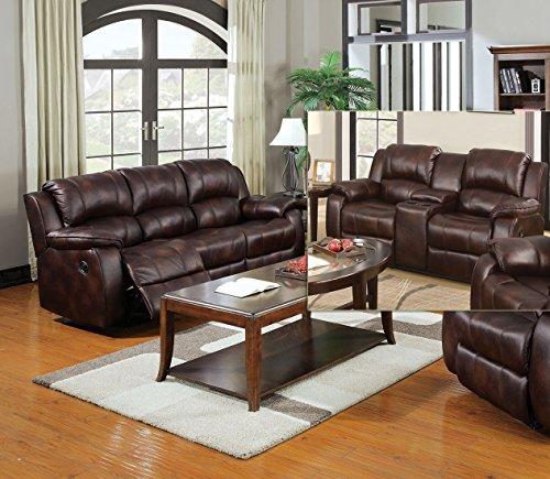 Esofastore Recliner 2pc Sofa Set Sofa & Loveseat Plush Armrest Brown Microfiber Living Room