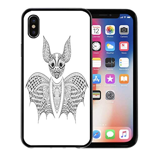 Semtomn Phone Case for iPhone Xs case,Zentangle Bat Totem for Adult Anti Stress Coloring Page Therapy Tribal in Doodle Monochrome Sketch High for iPhone X Case,Rubber Border Protective Case,Black]()