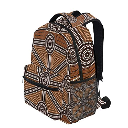 - KVMV Australian Aboriginal Style Earth Tone Dot Painting Depicting Pattern with Borders Lightweight School Backpack Students College Bag Travel Hiking Camping Bags