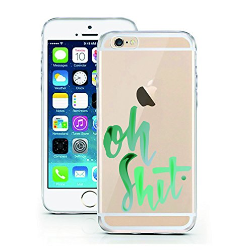 iPhone 6 6S Case by licaso for the iPhone 6 6S TPU Disney Case Oh Shit. Green Water-Color Clear Protective Cover iphone6 Mobile Phone Sleeve Bumper (iPhone 6 6S, oh Shit.)
